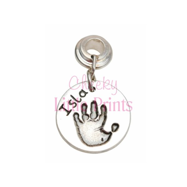 Regular silver hand print charm with charm carrier