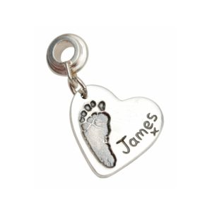 Regular silver footprint charm with charm carrier