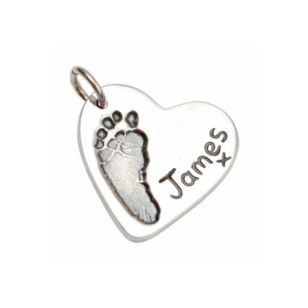 Silver heart charm with your little one's footprint