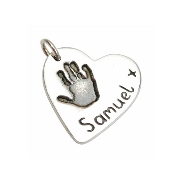 Silver heart charm with your little one's hand print
