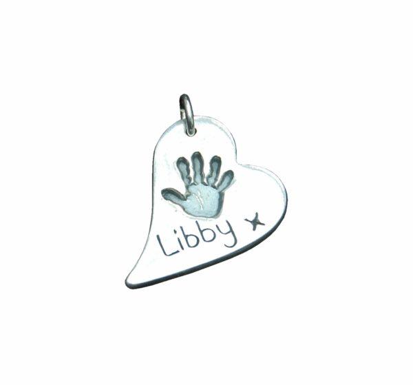 Regular curved heart handprint charm