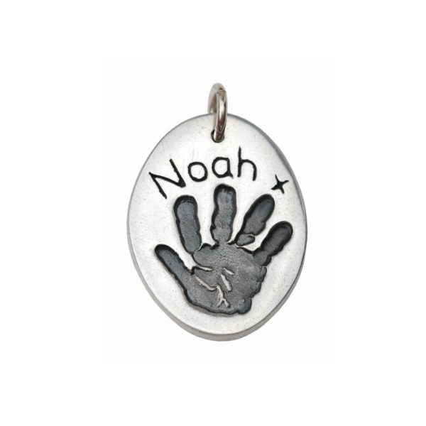 Silver oval charm with your little one's hand print