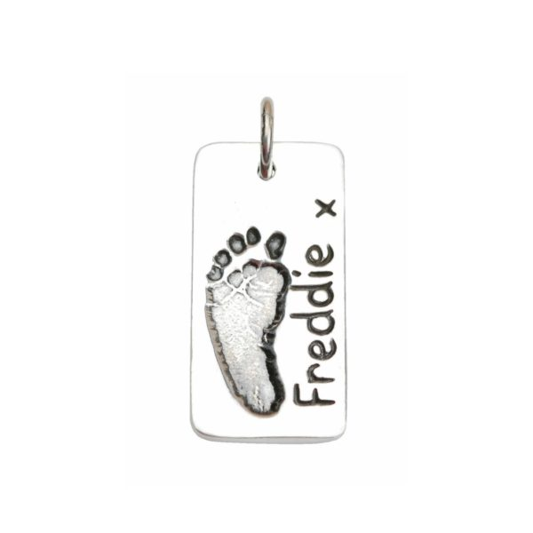 Silver rectangle charm with your little one's footprint
