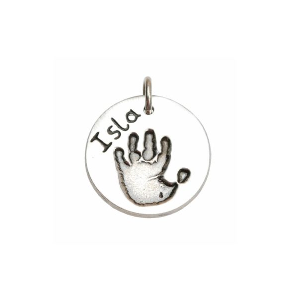 Silver circle with your little one's handprint and name