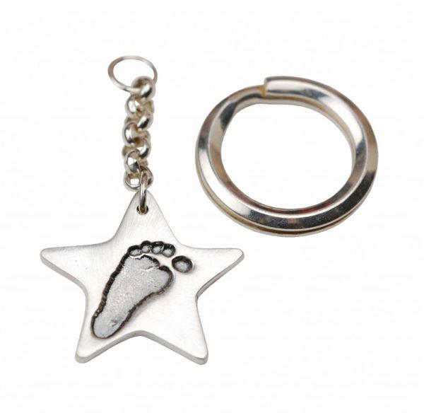 Silver star footprint keyring