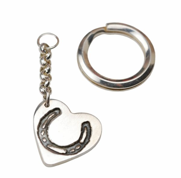 Silver heart keyring with your horse's shoe