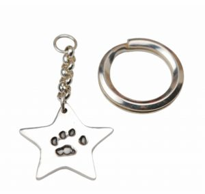 Silver Christmas tree charm with hand & footprint