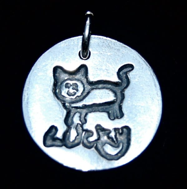 Small silver circle charm showcasing your child's drawing and writing.