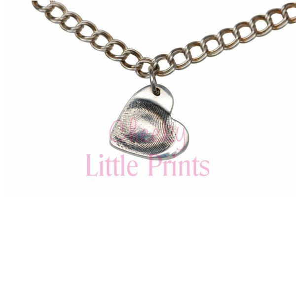 Small silver heart charm with fingerprint