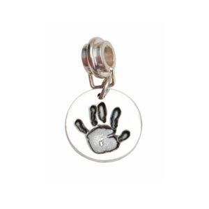 Small silver handprint charm with charm carrier