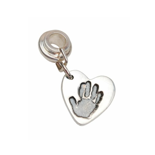 Silver heart hand print charm with charm carrier