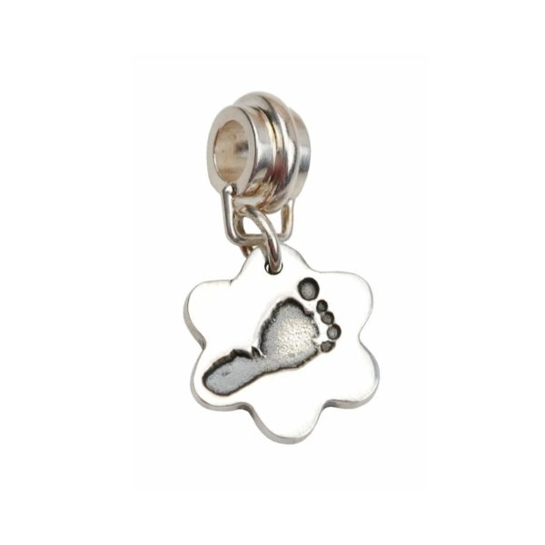 Silver flower footprint charm with charm carrier