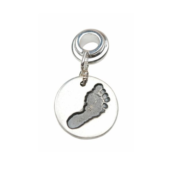 Silver circle footprint charm with charm carrier