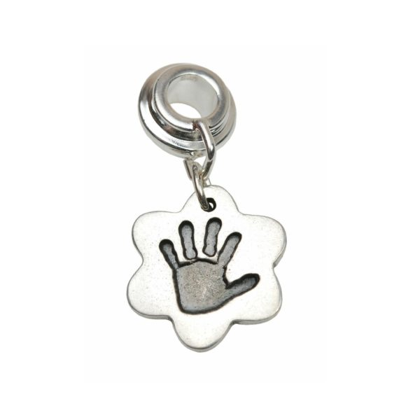 Silver flower hand print charm with charm carrier