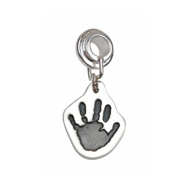 Silver cut out hand tprint charm with charm carrier
