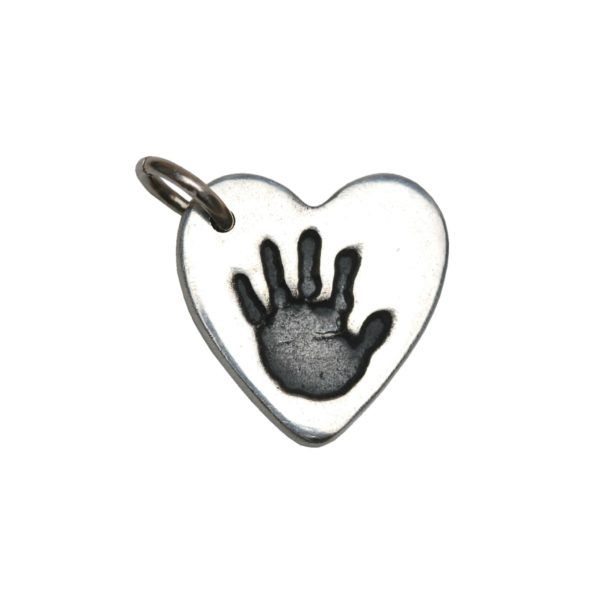 Silver heart charm with handprint