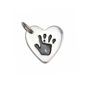 Small silver heart with your little one's handprint