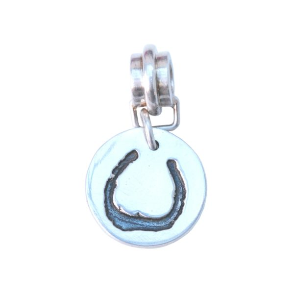 Small silver charm with your horse's shoe with charm carrier
