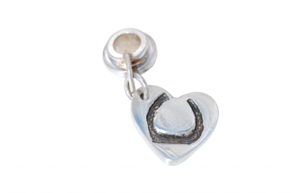 Silver heart horse shoe charm