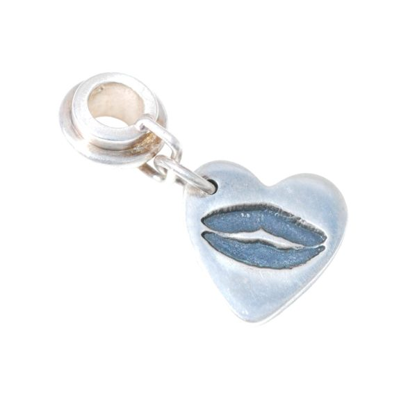 Small silver charm capturing your loved one's kiss imprint