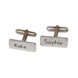 Sterling silver name cufflinks