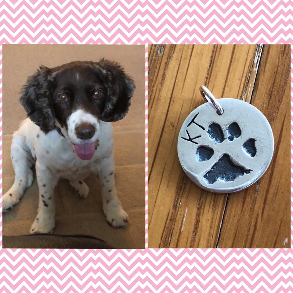 dog and silver paw print charm helping include dogs at weddings