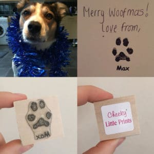 Max the dog and his paw print stamp