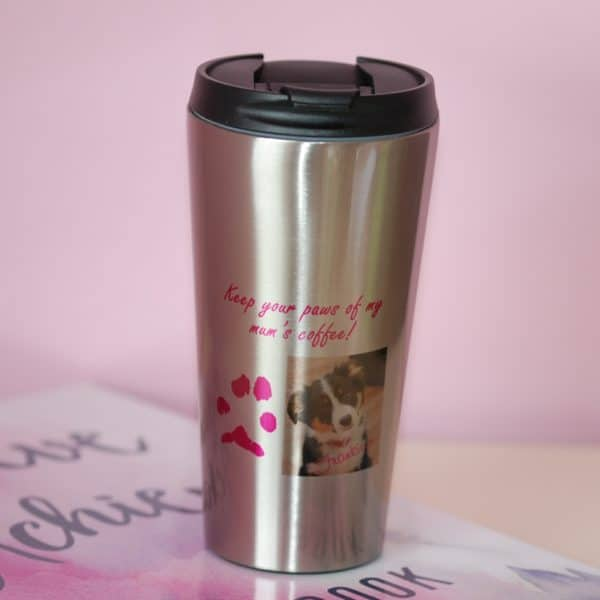 Personalised travel cup with your pet's unique paw print