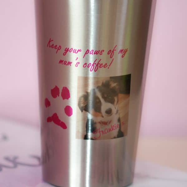 Personalised stainless steel travel mug with pet's paw print
