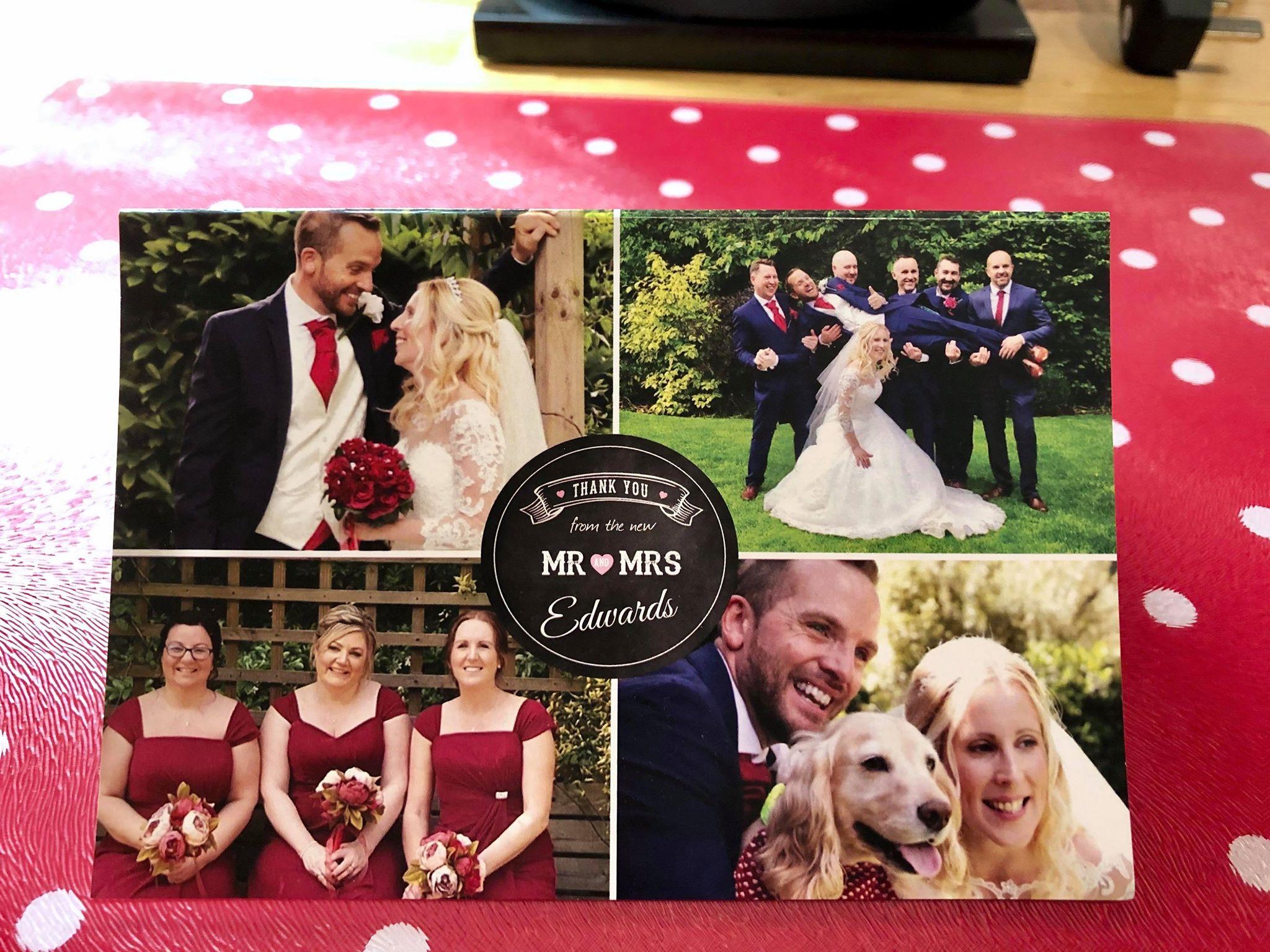 Wedding photos with dog - thank you card design