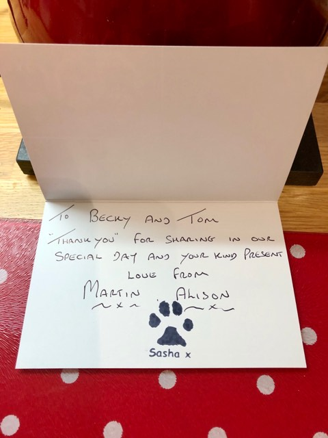 Wedding thank you card with paw print stamp