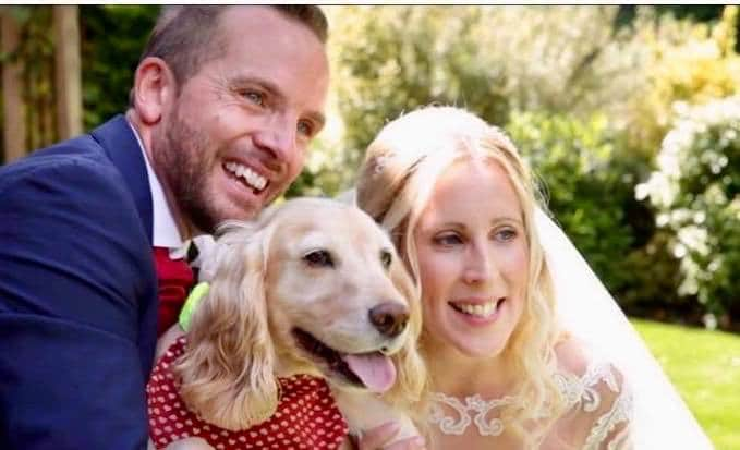 Wedding day photo with dog, great way to involve dogs at weddings