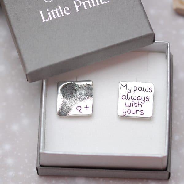 Silver paw pad print cufflinks