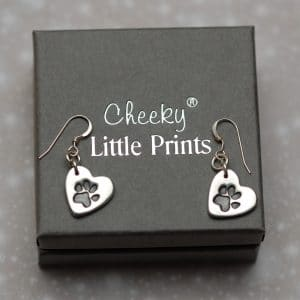 Small heart paw print earrings