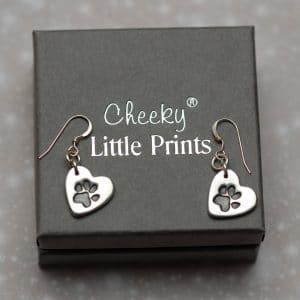 Small heart paw print earrings