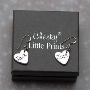 Inscription on the back of paw print earrings