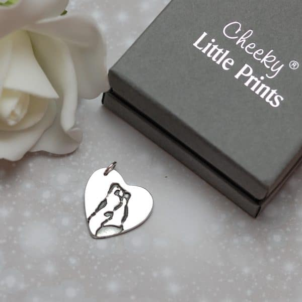 Hold my paw forever large heart charm