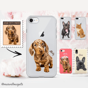 dog illustrated iphone case personalised mothers day gift