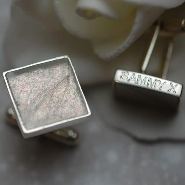 Silver cufflinks with pet fur or cremation ashes