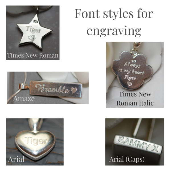Font styles for engraving pet fur and cremation ashes jewellery