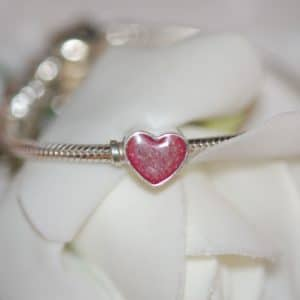 Silver heart charm bead with your pet's fur or cremation ashes