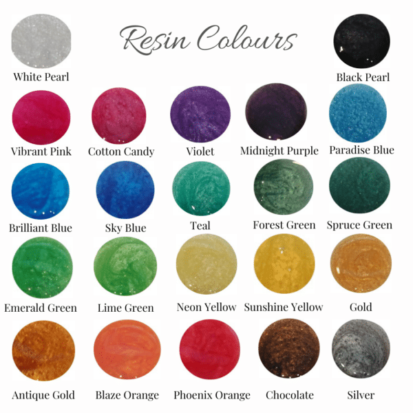 Resin colour collection for pet fur and cremation ashes jewellery