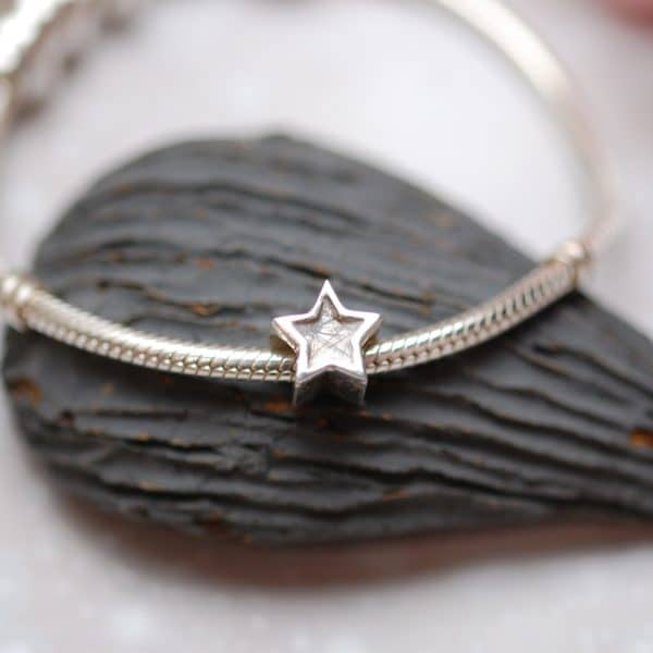 Star charm bead with pet fur or cremation ashes