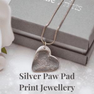 Silver paw pad print jewellery