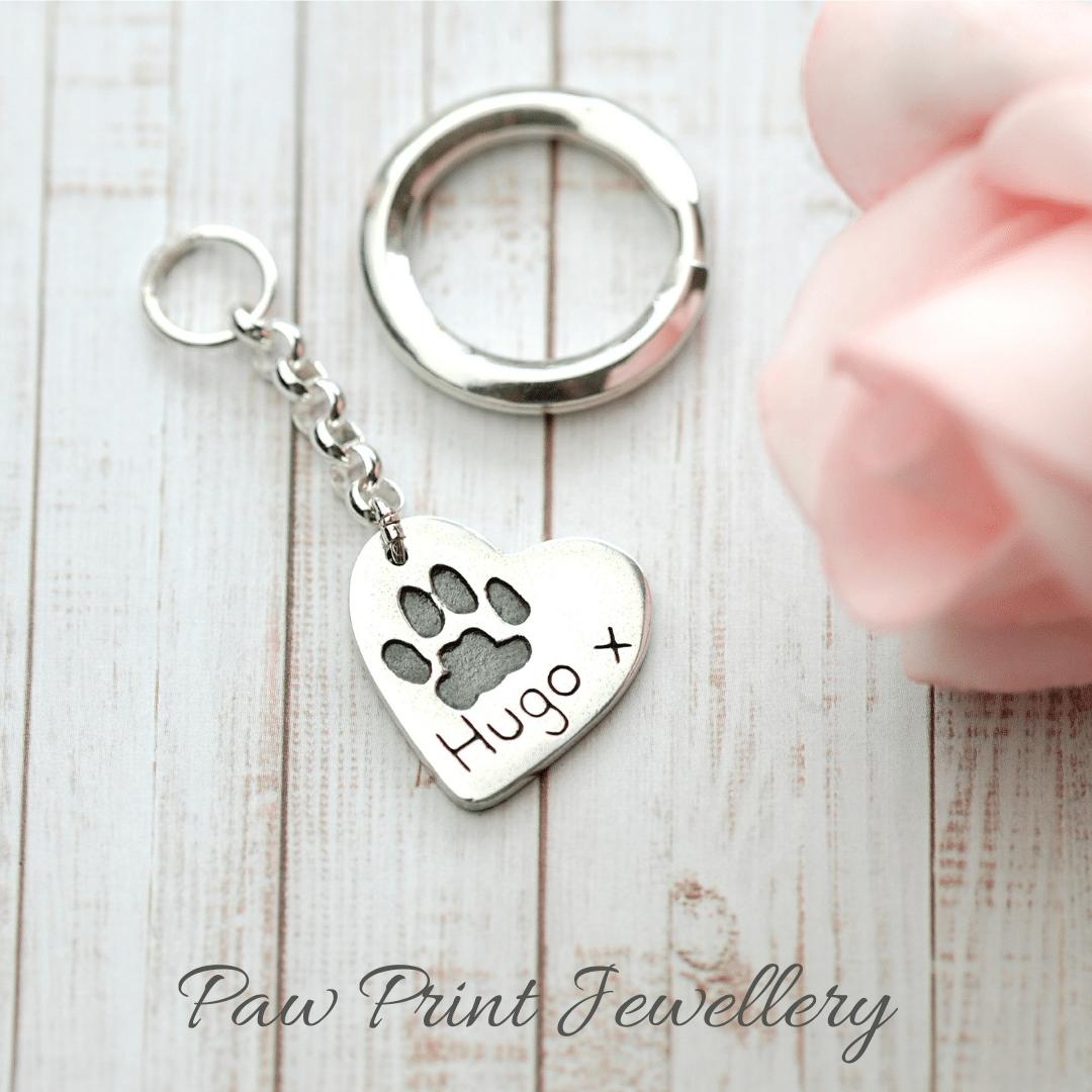 Silver paw print jewellery