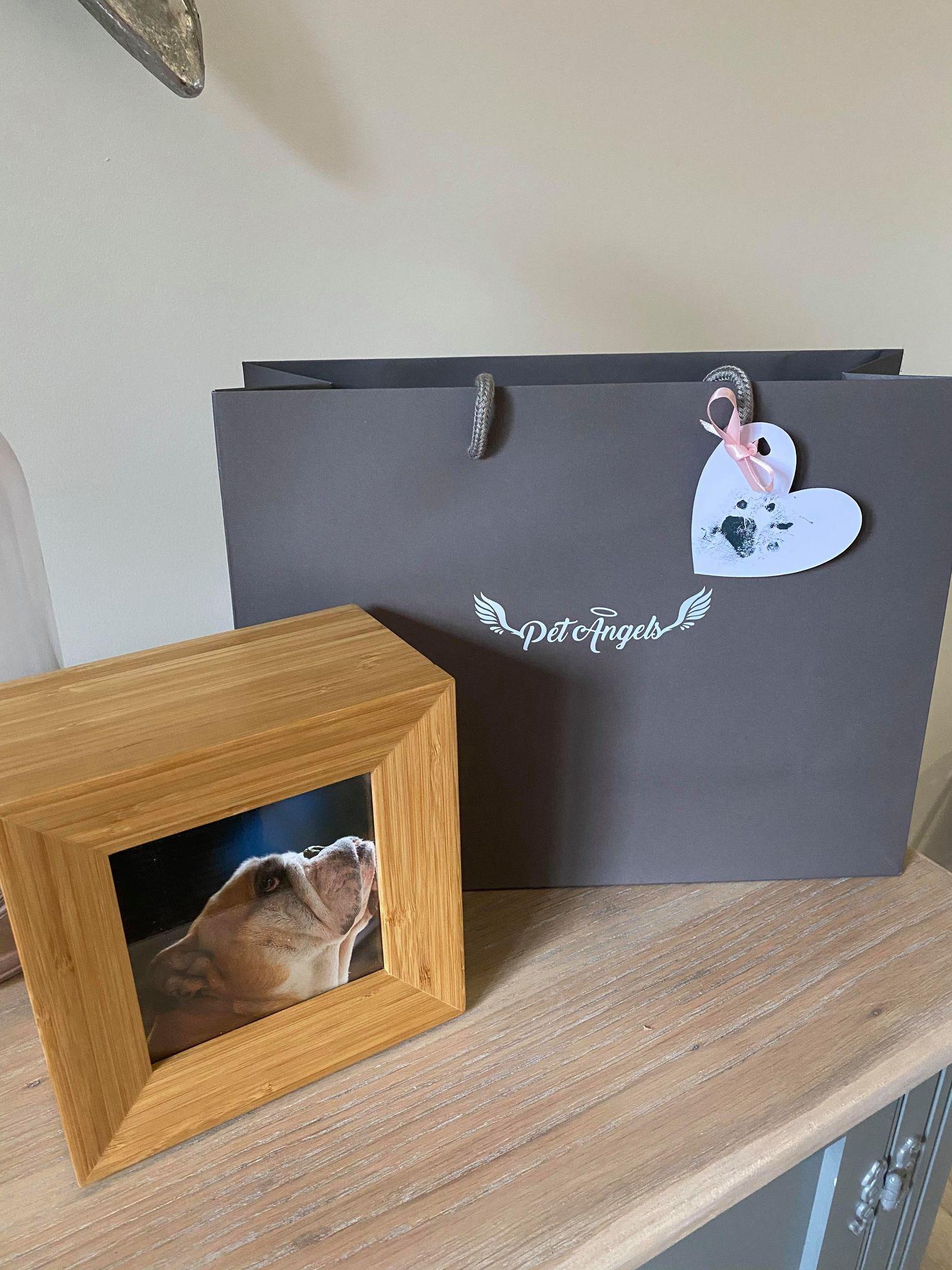 Beautiful photo frame and keepsake gift bag with pet paw print