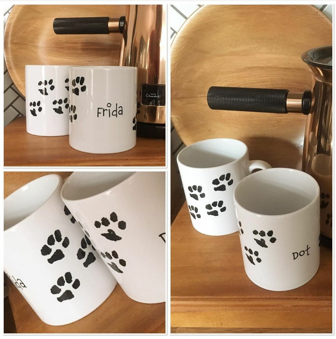 Pair of gorgeous paw print mugs perfect for dog dads