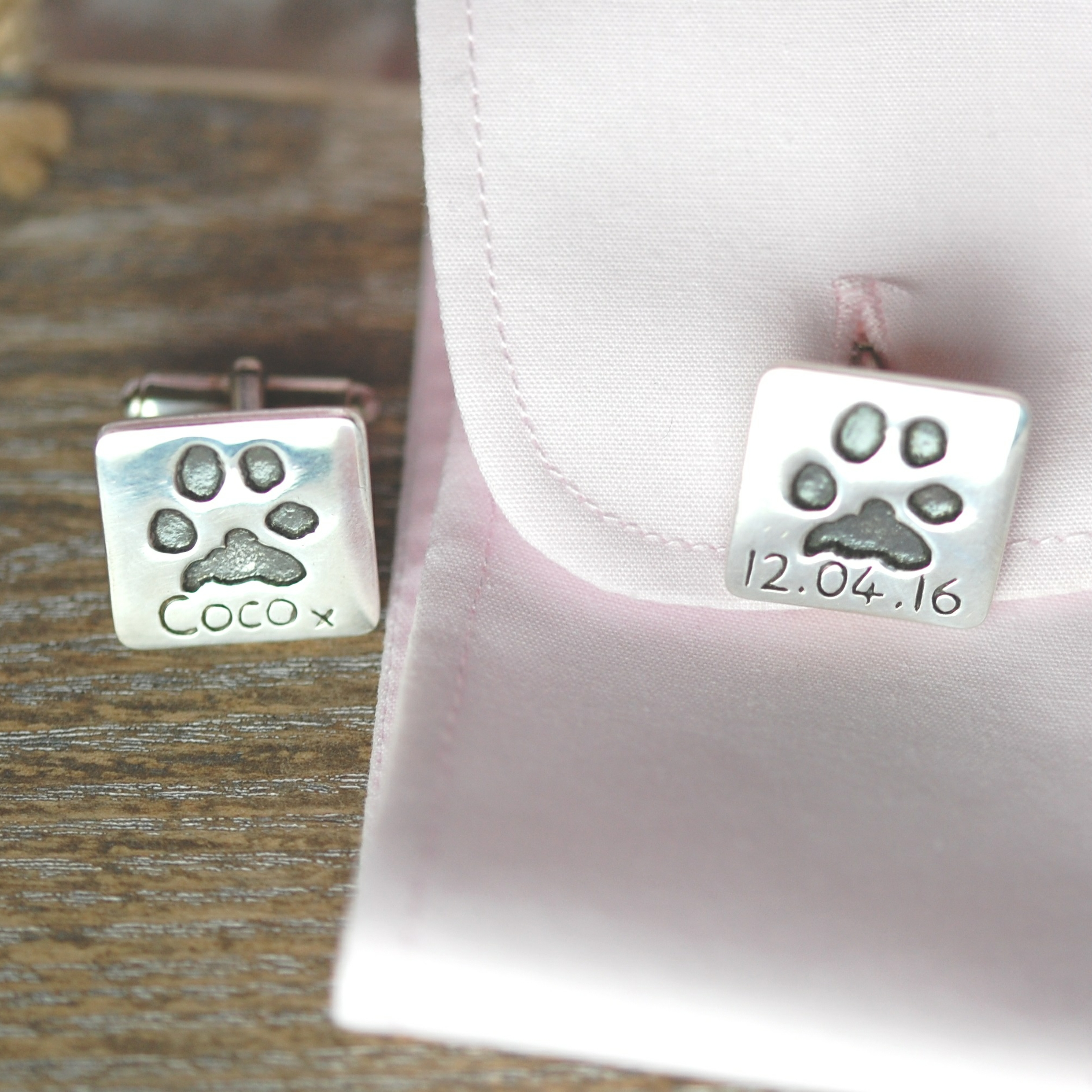 Silver square cufflinks for dog dads with pet's unique paw prints