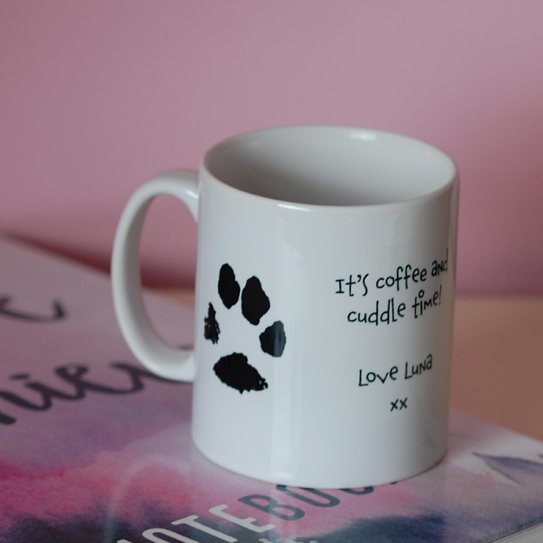 Mug with paw print and message - pawfect dog dad gifts