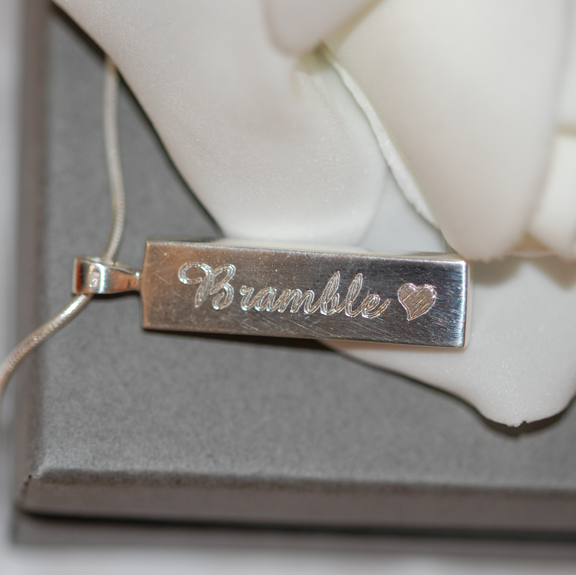 Silver rectangle pendant professionally engraved with Bramble